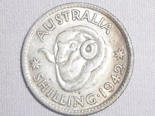 1942 S Australian Silver 1/- One Shilling (Shilling) KING GEORGE VI  (very Nice)