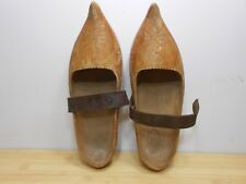 RARE Vintage Hand Carved Dutch Wood Clog Shoes Embossed Leather Straps.