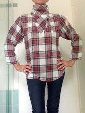 Vintage Tartan Shirt. High Button Up Collar, Cotton Blend Size 10