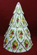 ROYAL ALBERT china OLD COUNTRY ROSES Christmas Tree Shaped Candy Jar & Lid 8-1/2