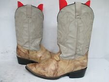 Roga Marble Tan Leather Cowboy Western Boots Mens Size 10 Made in Mexico
