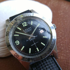 Vintage Cauny Submarine 21 Atmos Divers Watch w/Mint Dial,Genuine Tropic Strap