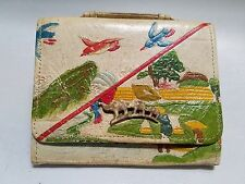 ANTIQUE JAPANESE EMBOSSED LEATHER TOBACCO POUCH / PURSE  ELEPHANTS LATCH