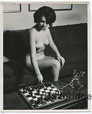 Sassy Brunette Ripe Perky Breasts  1960 Original 8x10 Nude Playing Chess  1717