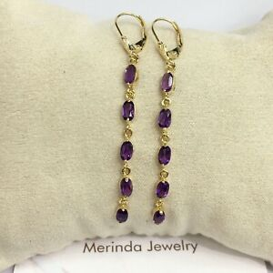 14k Solid Yellow Gold Leverback Long Dangle Earrings, Natural Amethysts 2.20 Gr