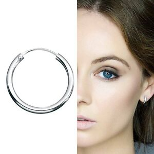 x1 925 Sterling Silver Hinged Hoop Sleeper Tragus Nose Earring Clicker 8mm-20mm