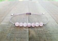 Rose  quartz string bracelet minimalist chakra jewelry yoga style bracelet