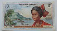 Banknote/billet . French Antilles 10 Francs 1964 Pick8/ B108a