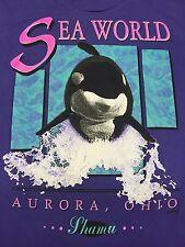 Vintage Sea World T-Shirt Soft Thin Shamu Killer Whale Aurora Ohio Fish Aquatic