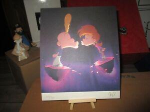 Titeuf&Nadia par Zep-lithographie-Signée et numérotée par l auteur-28 x 23 cm