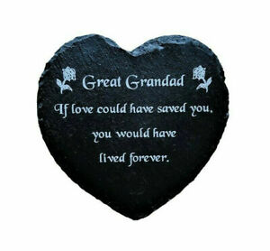 Engraved Natural Slate Heart Memorial Grave Marker Plaque for a Great Grandad