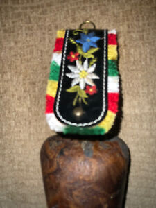 Vintage Cow bell With Original Embroidered Leather Strap flowers