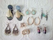 Gold tone pierced earrings, hoop, dangle, turquoise-color, poison and more
