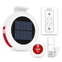 Wireless GSM Solar Powered Alarm Siren with SOS PIR Panic Motion Sensor Detector