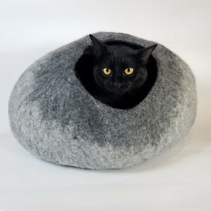 Gray Ombre Walking Palm Cat Cave Pet Bed LARGE For Cats and Dogs