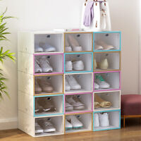 Premium Sneaker Display Shoe Storage Case Clear Plastic Boxes Side Stackable YI