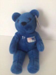SALVINO'S BAMMERS - Patriots #11 Drew BLEDSOE plush bean bag Bear Blue