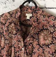 J. CREW Ruffle Front Paisley Print Popover Blouse Women's Size XS