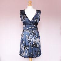 Warehouse blue black print silk v-neck short tie back dress UK 10