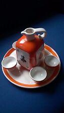 Ceramica Pucci Umbertide Bottiglia Piatto bicchieri set  poker assi anni 40