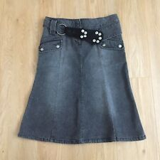 Topshop Denim Skirt 10 Women Black Moto A Line Flare BELT Cotton POCKETS Casual