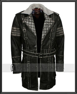 Mens Distressed Vintage Fashion Gaming Fall 4 Leather Coat Battle Costume