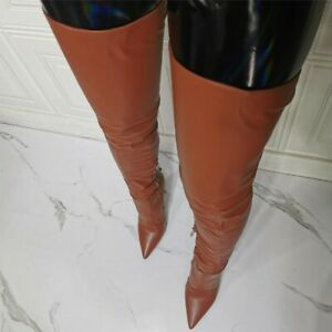 US 10.5 Brown Women Stiletto High Heel Pointed Toe Over Knee Thigh High Boots