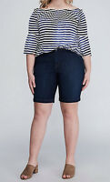 Lane Bryant Womens Bermuda Jean Shorts sz 16 Dark Blue Denim Stretch Jeans New