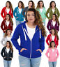 Ladies Plain Zip Up Hoodie Sweatshirt Women's Fleece Jacket Hooded Top S to 5XL