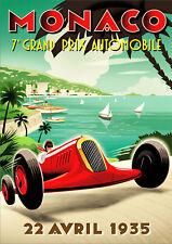 Reproduction Vintage Monaco Grand Prix Poster, 22nd April 1935, A2