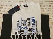 ARMANI JEANS White T-Shirt Men's H14 Multi Logo Cotton Top Size M Tee BNWT RP£80