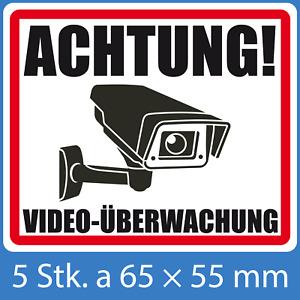 """Warnschild """"ACHTUNG VIDEOÜBERWACHUNG"""" 5er Set inkl. 3 Smilie-Aufkleber GRATIS"""
