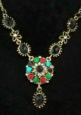 "Color Gem Chocker 20"" Chain Necklace Betsey Johnson Fashion Jewelry Women Multi"