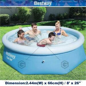 BESTWAY H2OGO! 8ft Fast Set Inflatable Swimming Pool Portable With Filter Pump