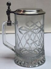 Crystal Etched Glass Beer Stein Hinged Lid Fiye Italy Hobnail