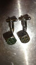 Casino Cuff Links - Very Stylish! Fabulous Pair Of Silver Metal Dice