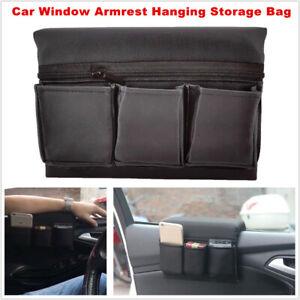 Car Window Armrest Hanging Bag Leatherwear Storage Pocket Organizer Phone Holder