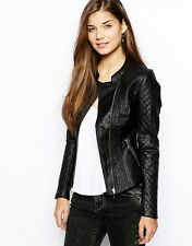 Waist Length Faux Leather Floral Coats & Jackets for Women