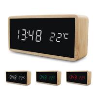 Réveil en bois veilleuse horloge LED affichage miroir température montre