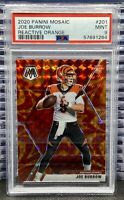 🔥2020 Panini Mosaic Joe Burrow #201 RC Reactive Orange PSA 9 Mint SP Prizm
