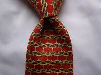 Burberry's Red, Gold, Blue Interlocking Chain Mesh Print 59/4 Silk Neck Tie