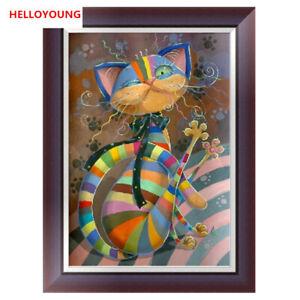 5D Diamond Painting Diamond Embroidery Colored Cat Cross Stitch Kits Home Decor