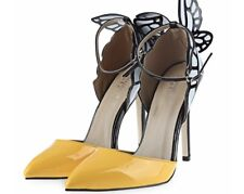 Rainbow Cat Butterfly Black & Yellow High Heels W/ Buckle Size 38