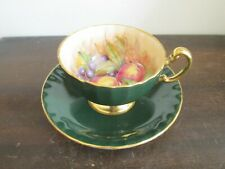 Aynsley England Cup And Saucer Orchard Fruit Green Signed D. Jones