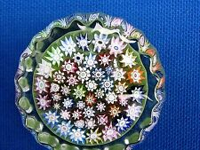 """Peter McDougall CONCENTRIC MULTI MILLEFIORI PAPERWEIGHT: Ribbed Edge, tag,1 3/4"""""""