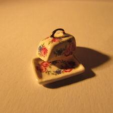 Formaggio piatto ceramica ~ ~ Floreale ~ doll House Miniatura Scala ~ 1/12th