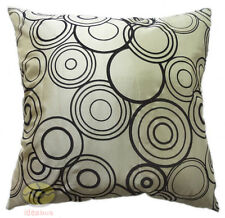 beige with black circles  Raised Flocked Fashion Satin Cushion Cover/Pillow case