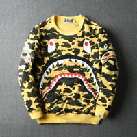 Men's Cotton Big/Small Shark Mouth Camo Hoodie Sweater Coat Size M/L/XL