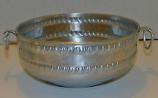 "Vintage Forged Aluminum 8½"" Bowl Dish Recessed Pedestal Bottom Ring Handles"