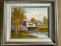 """Nice """"Covered Bridge And River Landscape Scene"""" Oil Painting - Signed And Framed"""